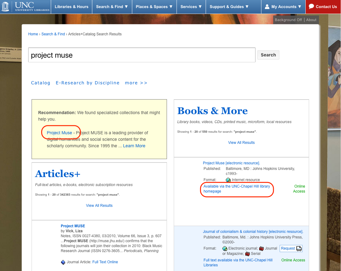 A two-column search results page. A link to Project Muse is in the upper left box, and another link to Project Muse (with different text) is in the right column.