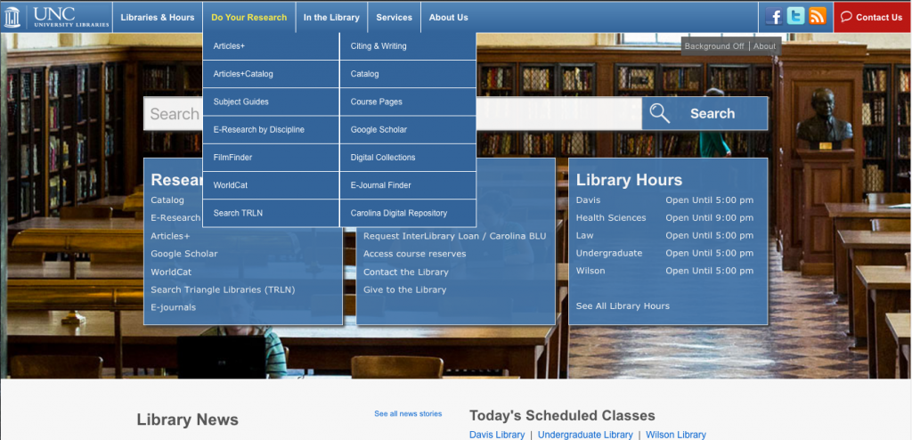 "Screenshot of how the navigation used to be organized. Primary labels were ""Librares & Hours"", ""Do Your Research"", ""In the Library"", and ""Services""."