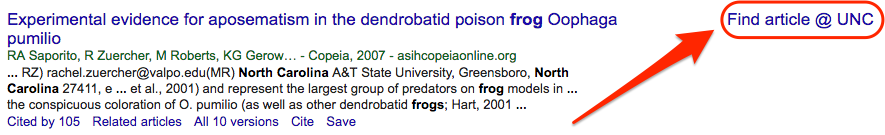 google scholar search result, with focus on the Find Article @ UNC link