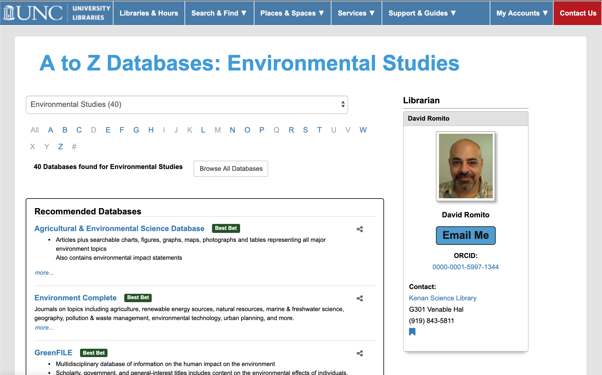 Screenshot of the Environmental Studies subject page