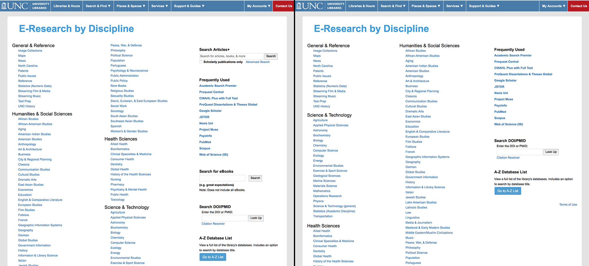 Side by side comparison of the E-Research by Discipline page before and after changes made in January 2019